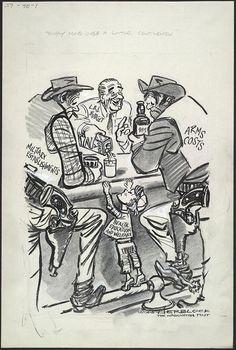 """Kindly Move Over A Little, Gentleman"" Herblock 1965"
