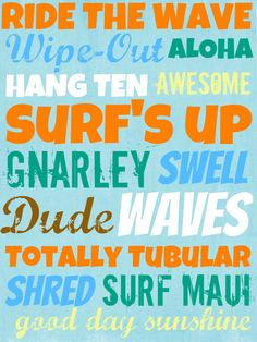 Surfin Party Free Printables Subway art