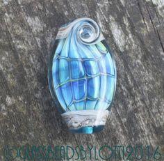 Handmade lampwork focal bead 'Iridescent blue green fish'.  SRA by GlassBeadsbyLotti on Etsy