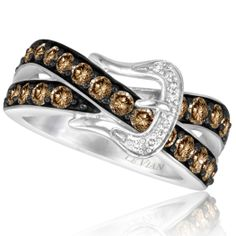 levian chocolate diamonds | Le Vian 14K Vanilla Gold 1.20 Carat Chocolate and Vanilla Diamond Ring