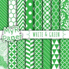 """Digital Paper: """"White & Green"""" 40% OFF , Four Leaf Clover, Chevron, Hexagons, Scallops, Damask, Triangles, Stripes, Polka Dots and more..."""