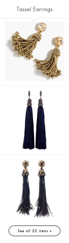 """""""Tassel Earrings"""" by sentioinfinitum ❤ liked on Polyvore featuring jewelry, earrings, gold, nakit, clear earrings, j crew earrings, beading earrings, beaded earrings, clear crystal earrings and accessories"""
