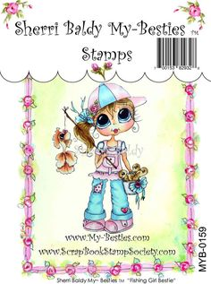 My-Besties Clear Rubber Stamp Big Eye Besties Big Head Dolls Fishing Bestie By Sherri Baldy