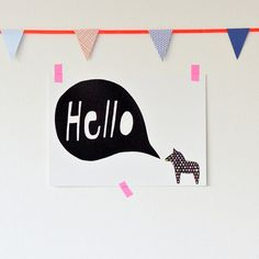 Hello Dala Postcard by seventytree on Etsy, Decorative Tape, Ball Lights, Scandinavian Design, Print Design, Graphic Design, How To Draw Hands, Colours, Art Prints, Artwork