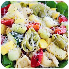 Fresh Vegetable Tortellini & Spinach Ingredients enough to serve 4! Healthy Recipe: Fresh Vegetable Tortellini @ cincysavers.com