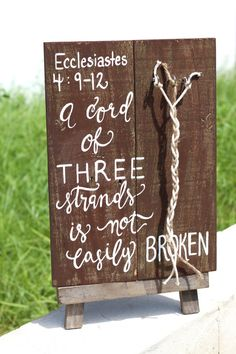 "Wooden "" A Cord of Three Strands "" Sign - Rustic Chic Wedding Decor -  Bible Verse Sign from THE PAPER WALRUS"