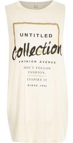 Beige untitled collection longline tank top - print t-shirts / vests - t shirts / vests / sweats - women