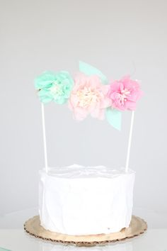 Pink Paper Flower Cake Topper Tissue Paper Cake by BlushBazaar