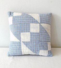 Vintage Blue-Grey Quilt Pillow