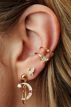 Piercing Imitation LOVE Black Cartilage Ear Cuff TWO HEARTS/fake faux false piercing/ohrklemme ohrclip/ear wires jacket/black ear manschette - Custom Jewelry Ideas Ear Jewelry, Cute Jewelry, Wedding Jewelry, Jewelry Accessories, Women Jewelry, Fashion Jewelry, Jewelry Ideas, Wedding Earrings, Boho Wedding