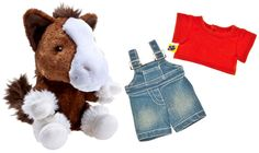 Build a Bear Clydsdale Pony Horse with red tee denim overalls outfit Teddy BAB bears mini Buddies stuffed plush toy animals In Stock Now at http://www.bonanza.com/booths/TweetToyShopIn Stock Now at http://www.bonanza.com/booths/TweetToyShop