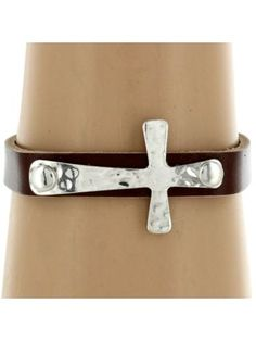 Brown Leather and Silvertone Cross Bracelet