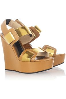 Leather wedge sandals by Marni