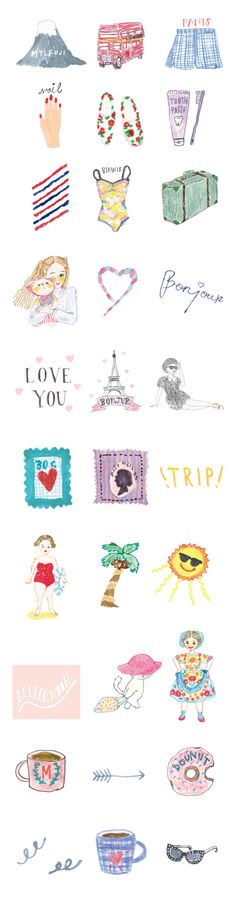 WORKS-sna-トラベルパック-allスタンプ2 Kawaii Illustration, Collage Illustration, Simple Illustration, Character Illustration, Girl Artist, Planner, Illustrations And Posters, Cute Stickers, Cartoon Drawings
