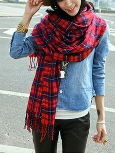Red Check Tartan Plaid Pashmina Wrap Stole Scarf Shawl | eBay