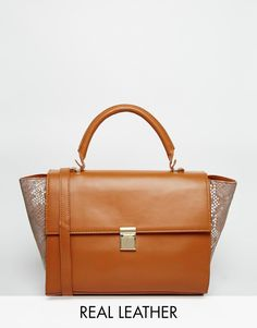 ASOS+Leather+Top+Handle+Bag+With+Contrast+Sides