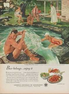 """1950 UNITED STATES BREWERS FOUNDATION vintage print advertisement """"Beer belongs ... enjoy it"""" ~ Cooling Off In The Country by Douglass Crockwell. Beer and ale are the kinds of beverages Americans like. America's beverage of moderation. At mealtime, too! ~"""