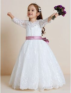 39015c589f51 [$62.99] Ball Gown Floor Length Flower Girl Dress - Lace / Tulle Long  Sleeve V Neck with Appliques / Bow(s) / Lace by LAN TING BRIDE®