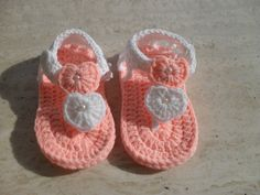 Crochet Baby Girl Shoes/Sandals/Flip Flops Size 3 to 6 Months on Etsy, $16.86