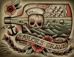 """flash-art-by-quyen-dinh:  :Death by Sea,"""" Quyen Dinh Print available at https://www.etsy.com/listing/129730999/death-by-sea-tattoo-print?ref=shop_home_active"""