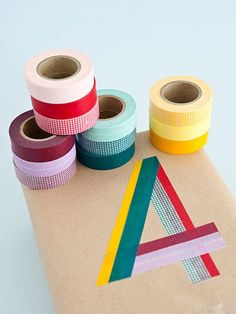 Always washi tape. gotta get me some washi tape Washi Tape Uses, Washi Tapes, Colored Masking Tape, Masking Tape Art, Present Wrapping, Gift Wrapping Ideas For Birthdays, Birthday Wrapping Ideas, Japanese Gift Wrapping, Birthday Ideas