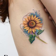 Cousin Tattoos, Baby Tattoos, Cute Tattoos, Beautiful Tattoos, Body Art Tattoos, Sleeve Tattoos, Tatoos, Colorful Sunflower Tattoo, Colorful Rose Tattoos