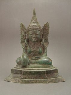 ANCIENT 18th.c Burma Burmese Mahamuni Buddha Bronze Brass Statue Buddhist Decorative Art Sculpture Myanmar