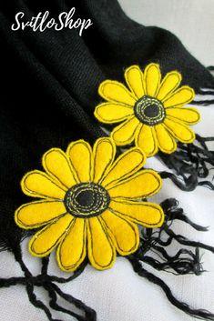 Set 2 yellow single flower felt brooch Machine embroidery daisy brooch Fabric floral jewelry Felt gerbera Flower accessory pin Gift for her USD 11.82