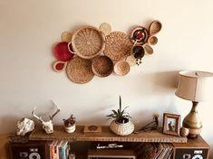 Vintage Basket Wall Bohemian Home Decor Boho Folk Mod Mid Century Hippie Gypsy Baskets Woven Wicker Bohemian Furniture, Bohemian Decor, Baskets On Wall, Hanging Baskets, Straw Art, Bohemian Bedding, Vintage Baskets, Beaded Curtains, Centre Pieces