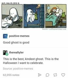 Positive-memes Good ghost is good This is the best, kindest ghost. Bd Comics, Cute Comics, Funny Comics, Comics Love, Tumblr Funny, Funny Memes, Memes Humour, Funny Humour, Jokes