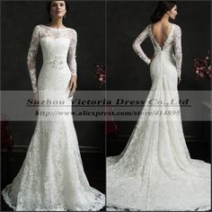 Find More Wedding Dresses Information about Vestido De Noiva Manga Longa Simple Sexy Mermaid Wedding Dress Long Sleeve Lace Wedding Dresses 2015 Robe De Mariee Casamento,High Quality Wedding Dresses from Suzhou Victoria Dress Co., Ltd on Aliexpress.com