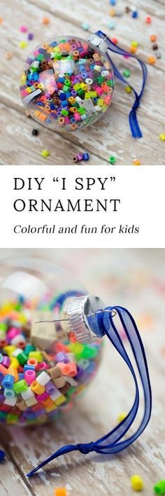 Crafters of all ages will enjoy making colorful I Spy Christmas Ornaments to gift or keep this holiday season. They are easy, fun, and perfect for home or school. #ornament #christmas #christmascrafts via @https://www.pinterest.com/fireflymudpie/