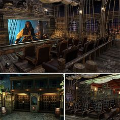 this is awesome...not sure I would want it but it was too cool not to pin  Pirates of the Caribbean theme home theater room