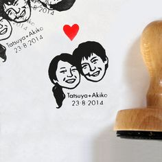 Self inking stamp / custom couple portrait / for wedding invites gift save the date face stamp etc