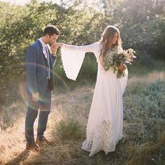Hippie chic wedding dress.