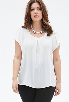 Sheer Pleated-Front Blouse | FOREVER21 PLUS - 2049258766