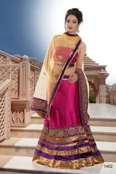 Buy  Stylish Pink and Purple Shade Lehenge with Classy Yellow Duptta. This  Admix Exclusive Handwork Lehenga is adorned  with Multi-ColorShaded and patch work. Pink color give it a grase look. To shop it now click on http://jugniji.com/ and www.facebook.com/jugniji.fashions/