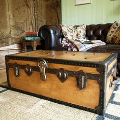 VINTAGE STEAMER TRUNK 30s travel trunk INDUSTRIAL CHEST coffee table BLANKET BOX in Home, Furniture & DIY, Furniture, Trunks & Chests | eBay