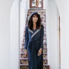 Striped Trim Jersey Knit Robe by Nine Space® $76