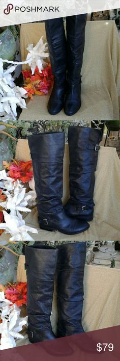 """STEVE MADDEN P-KOLE OVER THE KNEE BOOTS Nubuck upper leather, man-made lining, man made soles, 1.25"""" stacked heel, 14.t"""" shaft circumference, 18"""" from top of heel, to top boot in back, 16"""" from top of heel to top of boot in back when cuffed, decorative buckled at ankle and boot back, easy slip, ♡♡♡VERY NICE PRE-LOVED CONMINIMAL SIGNS OF WEAR♡♡♡ STEVE MADDEN Shoes Over the Knee Boots"""