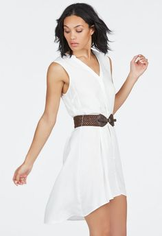 Sleeveless High Low Shirt Dress Kleidung in Schwarz - günstig kaufen bei JustFab