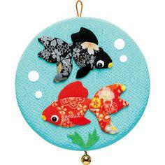 DIY Goldfish Japanese Folk Art home decoration Fabric kit  --- Japanese Craft Kit (Just use glue to make it) 4128104