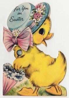 Vintage Greeting Card Easter Hat Bonnet Parasol Cute Chick Die-Cut Hallmark a375
