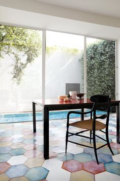 Serie Serie Lucia is a glazed hexagonal tile designed as a memory transmuted into a palette of fresh tones and nuances of the Mediterranean. Floor Design, Tile Design, Natural Flooring, Interior Decorating, Interior Design, Floor Patterns, Color Tile, Contemporary Interior, Home And Living