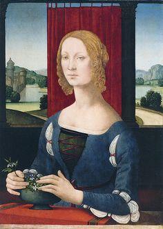 Lorenzo di Credi, Portrait d'une jeune femme ou La dame aux jasmins , 1485-1490 (plus pour le rideau tiré que pour le paysage derrière)