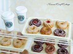 Miniature Food, Starbucks Coffee Beverage Drinks Cup, Donut Donuts Doughnut Doll Fake Food, Kawaii Cute Tiny Small Mini, 1:6 scale, bjd yosd