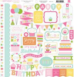 Happy Birthday Girl Sticker Sheet by JillianMaddiePaperie on Etsy
