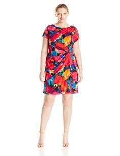 Womens Plus Size Short Sleeved Printed Jersey Dress www.fashionbug.us