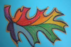 sandpaper and crayon leaves