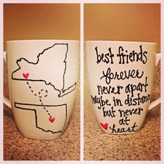 This would be so cute to give to a friend as a grad party gift! Draw the states of where each of you are going to college.